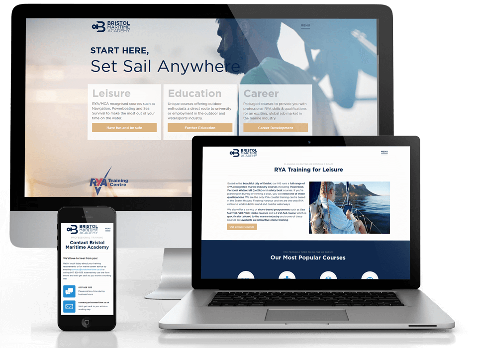 Web design portfolio of Bristol Maritime Academy devices