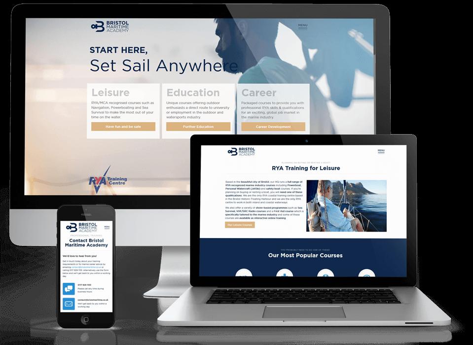 Web design portfolio of Bristol Maritime Academy devices