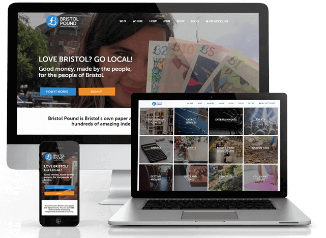 Website for Bristol Pound on multiple devices